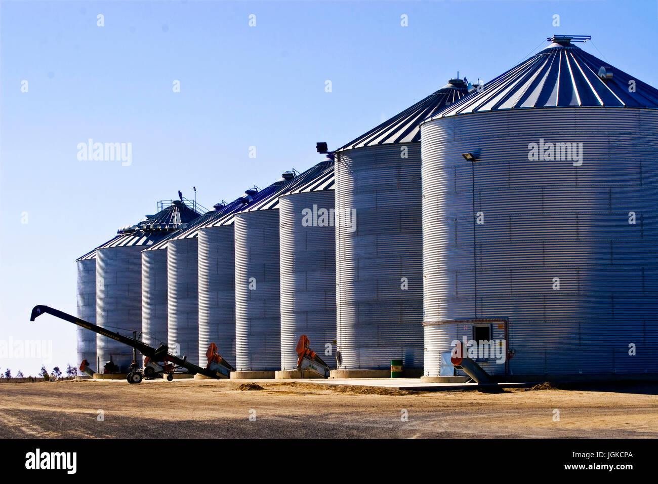 Steel grain silos in Australia Stock Photo