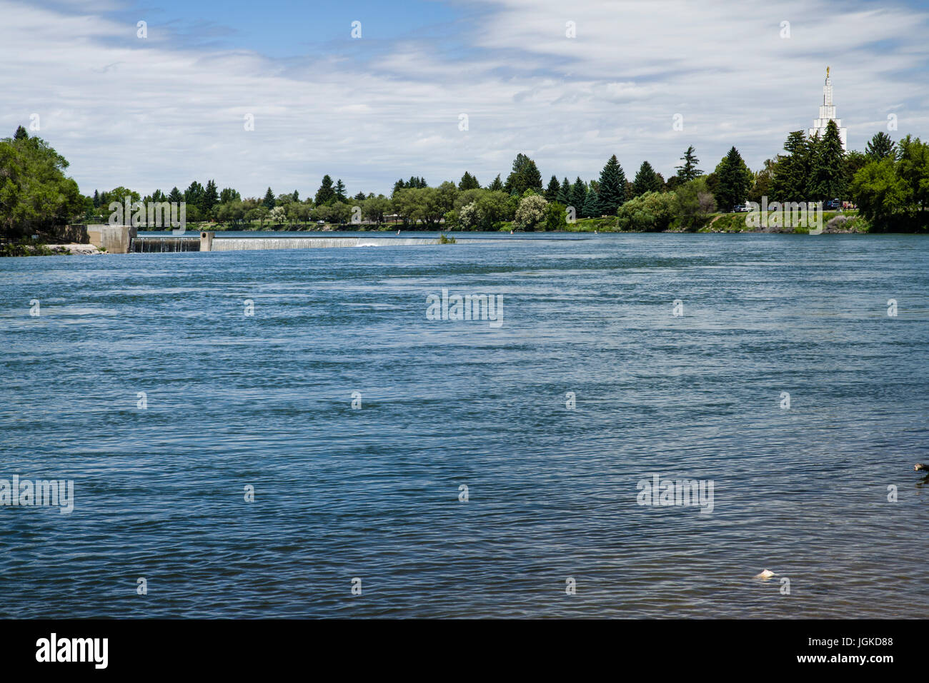 Idaho Falls Dam produces hydroelectric power for the city of Idaho Falls - Stock Image