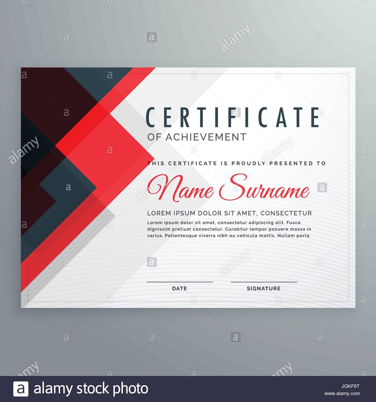creative certificate of achievement award template with red and clue