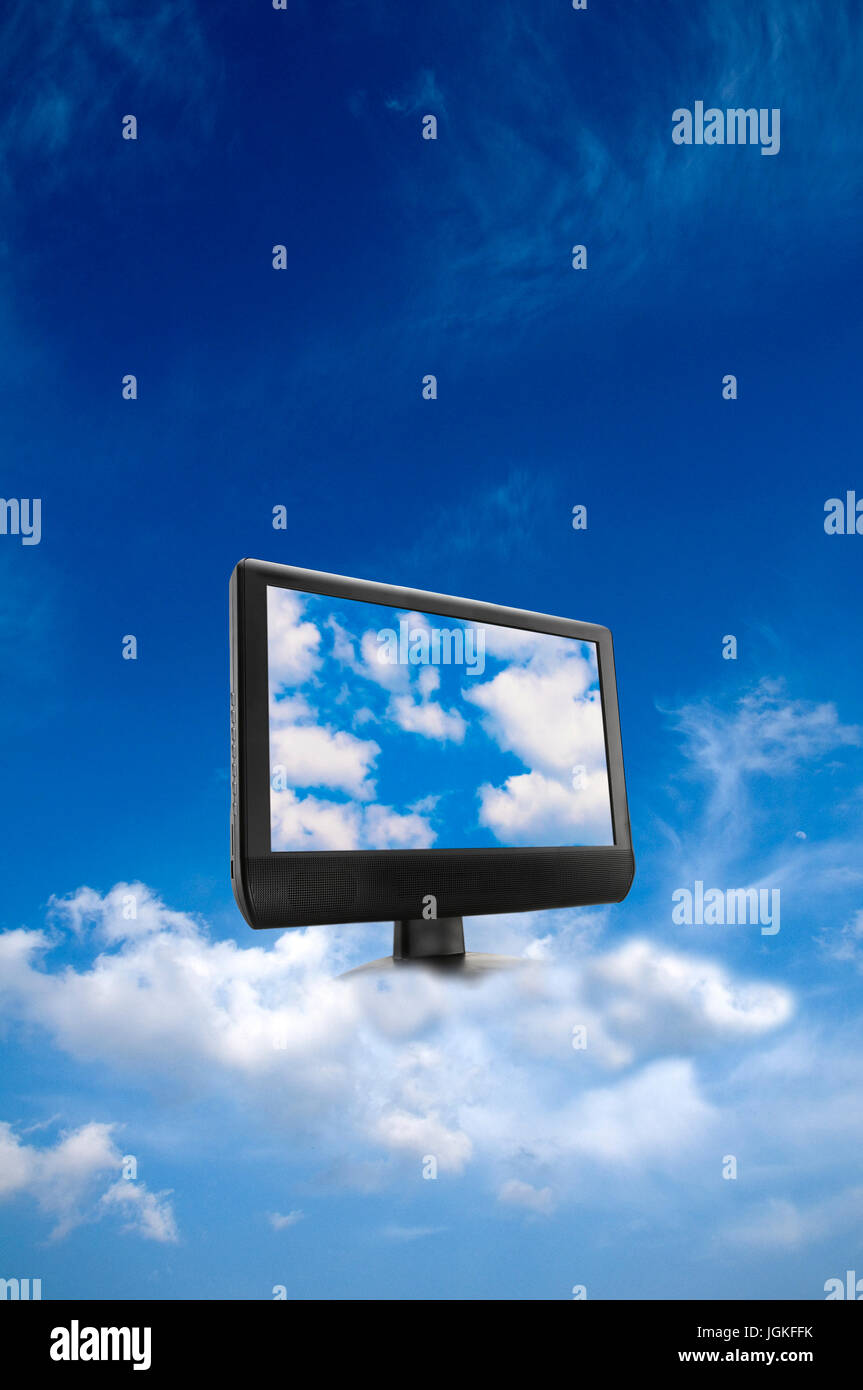 computer monitor in the sky, data storage in the cloud and cloud computing concept Stock Photo