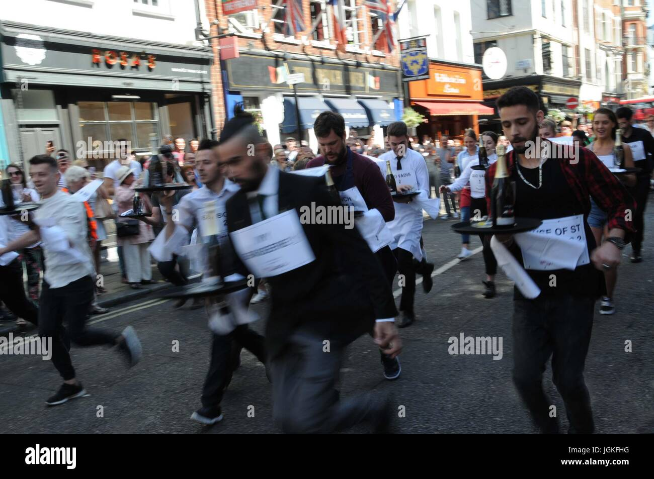 The 2017, Soho waiters race. - Stock Image