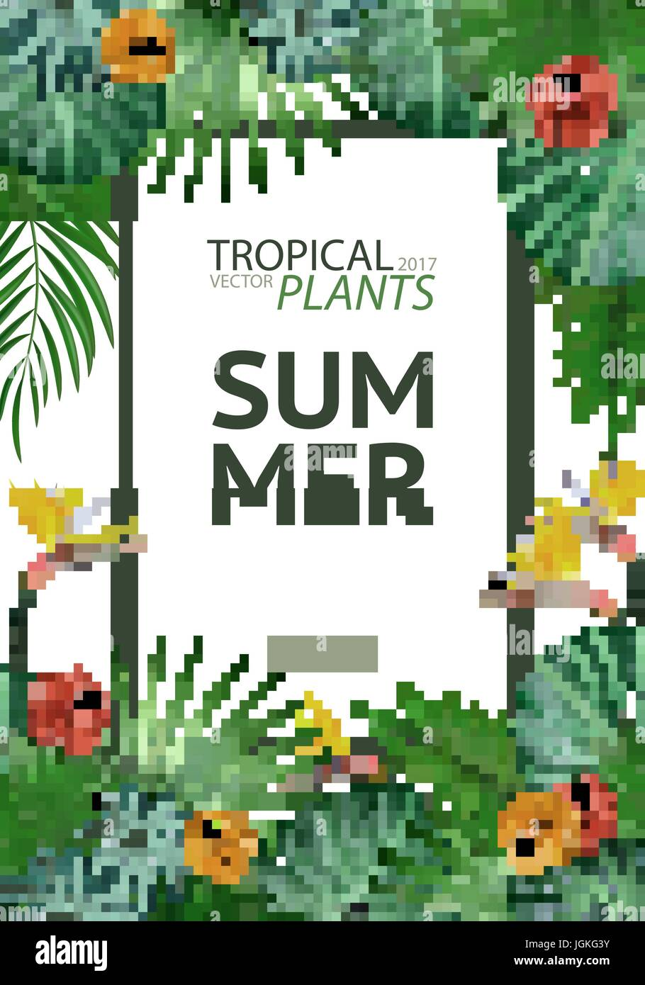 Tropical palm leaves background invitation or cover or poster tropical palm leaves background invitation or cover or poster design with jungle leaves and flowers vector illustration in trendy style stopboris Images