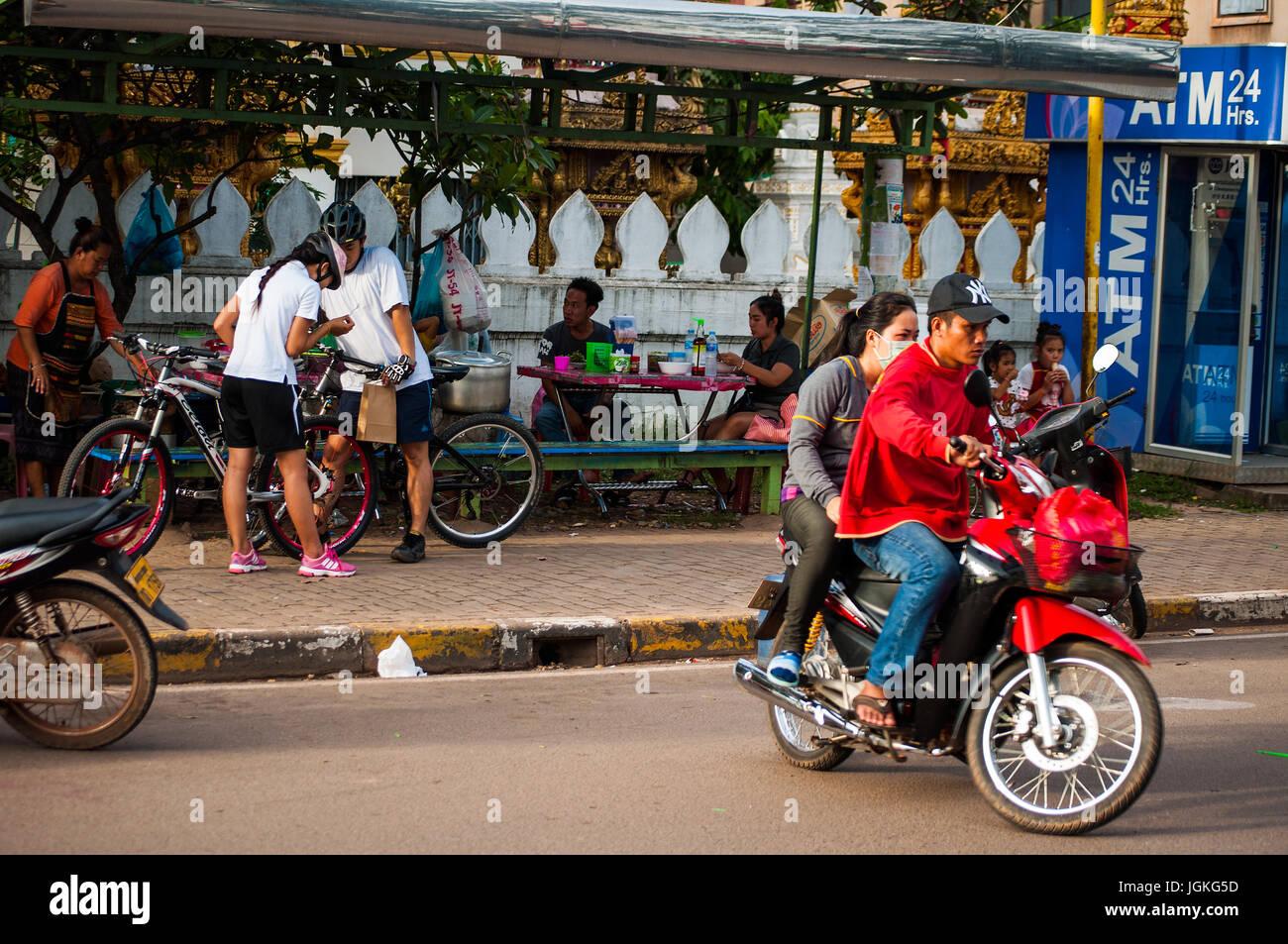 Fa Ngoum Road street scene, Vientiane, Laos - Stock Image