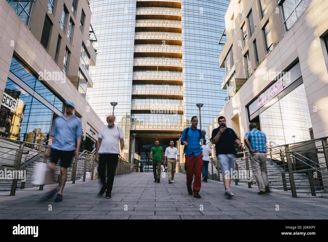 Milan, Italy - July 7th, 2017: Milan, Porta Nuova, Lombardy, Italy Stock Photo