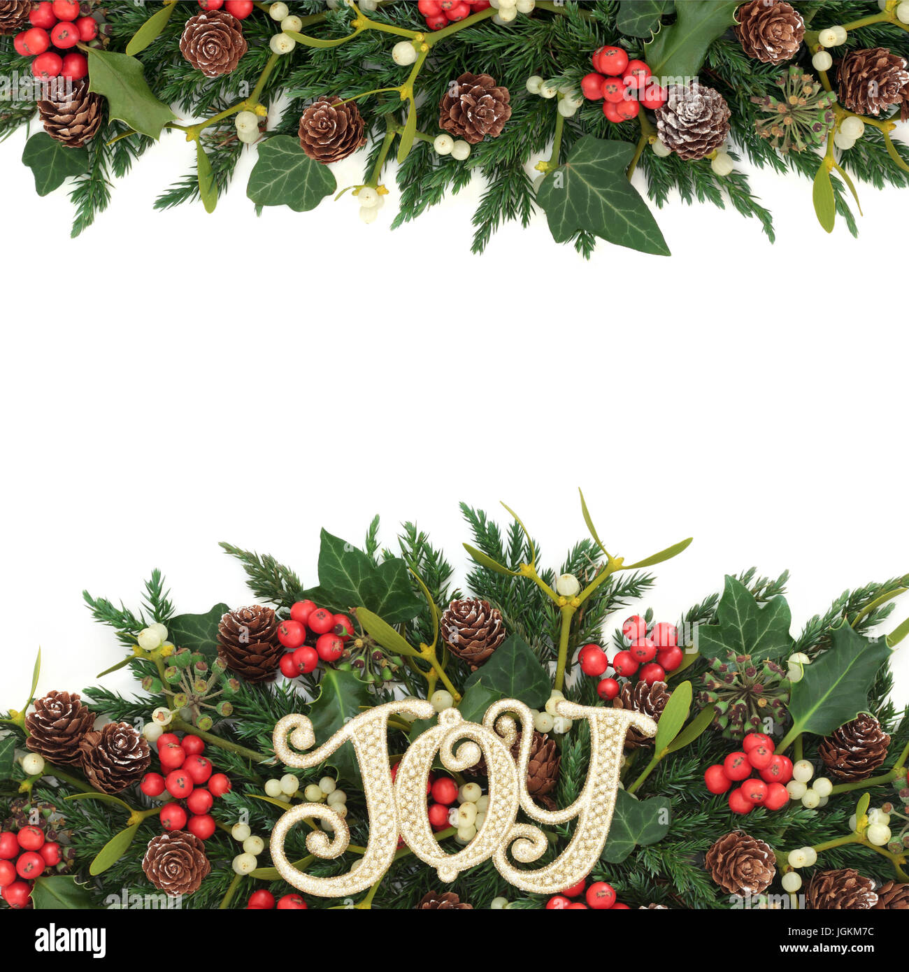 Christmas background border with gold joy sign, holly, ivy Stock ...