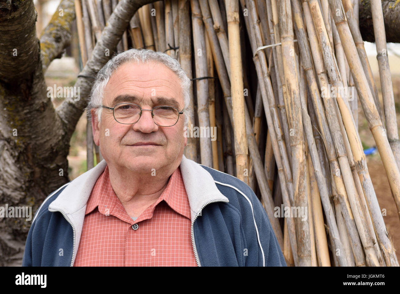 portrait of a retired man and relaxed - Stock Image