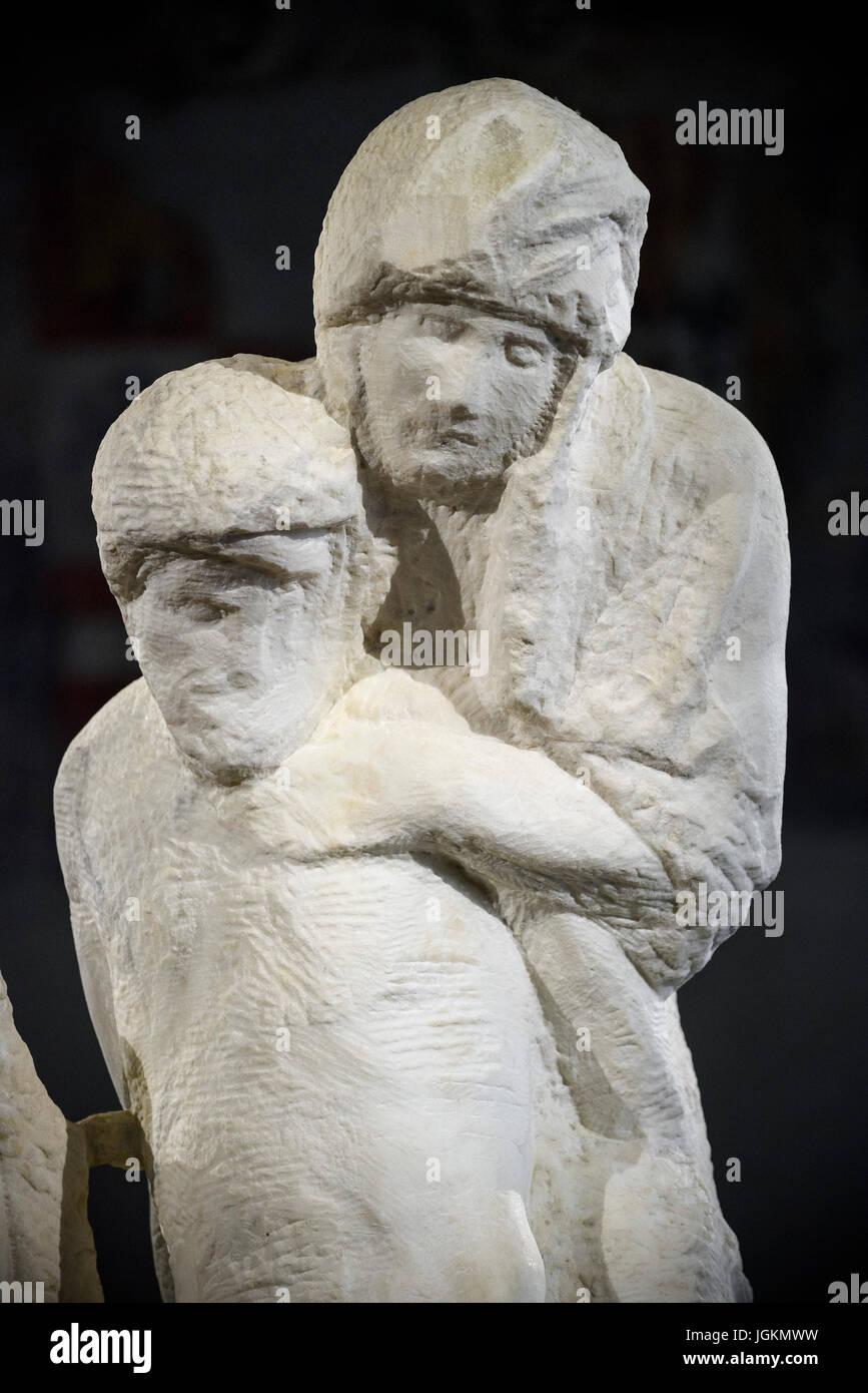 Milan. Italy. The Rondanini Pietà by Michelangelo at the Museo Pietà Rondanini Michelangelo in the Castello - Stock Image