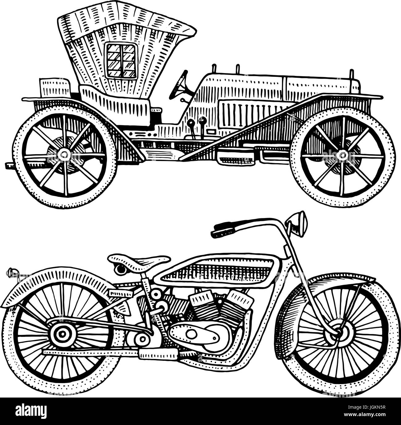 Classic car, machine or engine and motorcycle or motorbike Stock ...