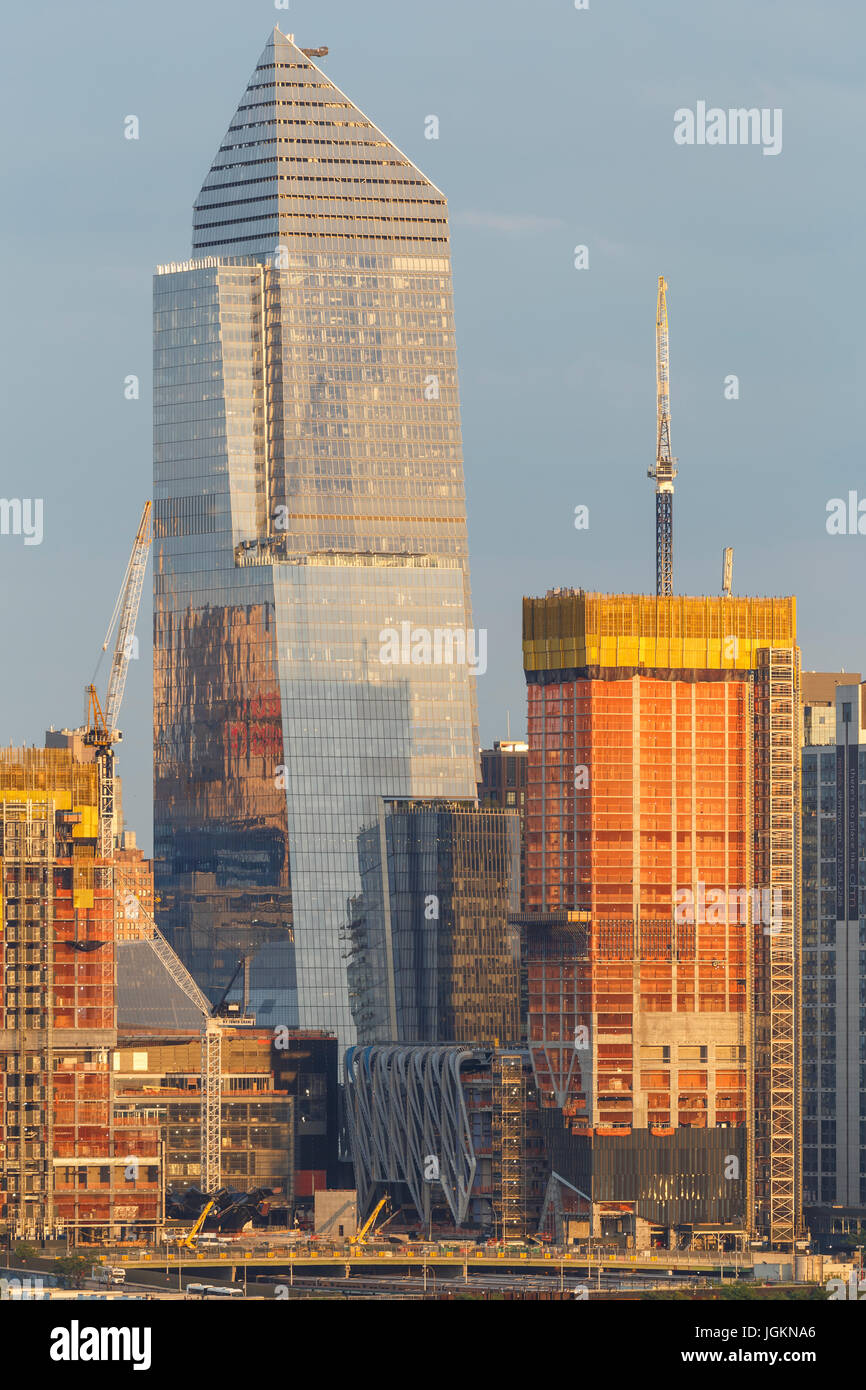 The developing Hudson Yards Project, under construction on the west side of Manhattan in New York City. Stock Photo