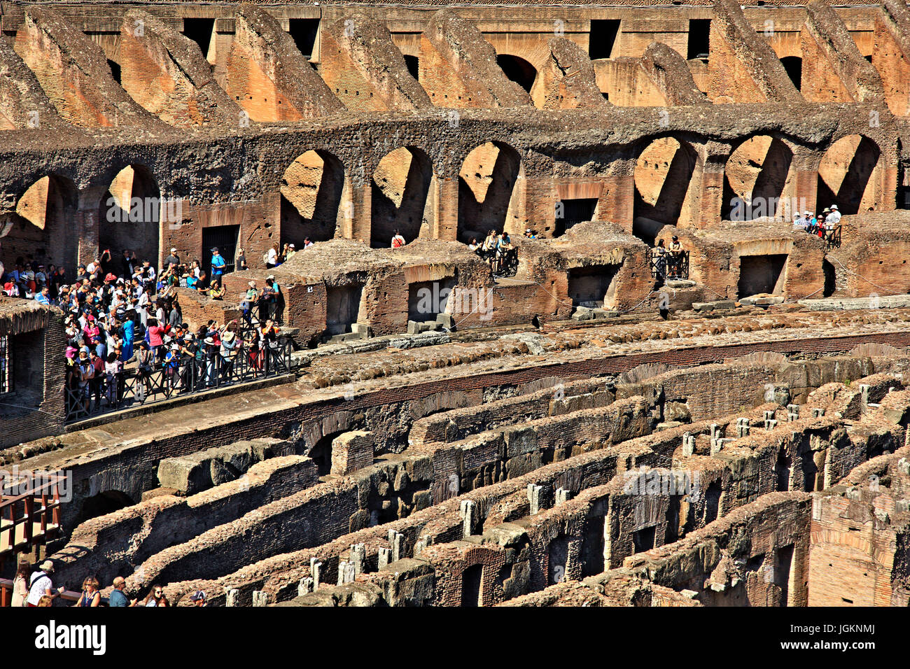 Inside the Colosseum ('Colosseo', also known as the 'Flavian Amphitheatre'), Rome, Italy - Stock Image