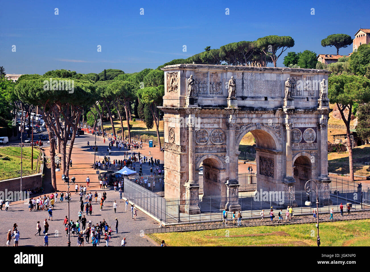 The Arch of Constantine  as seen from the Colosseum (Flavian Amphitheater), Rome, Italy - Stock Image