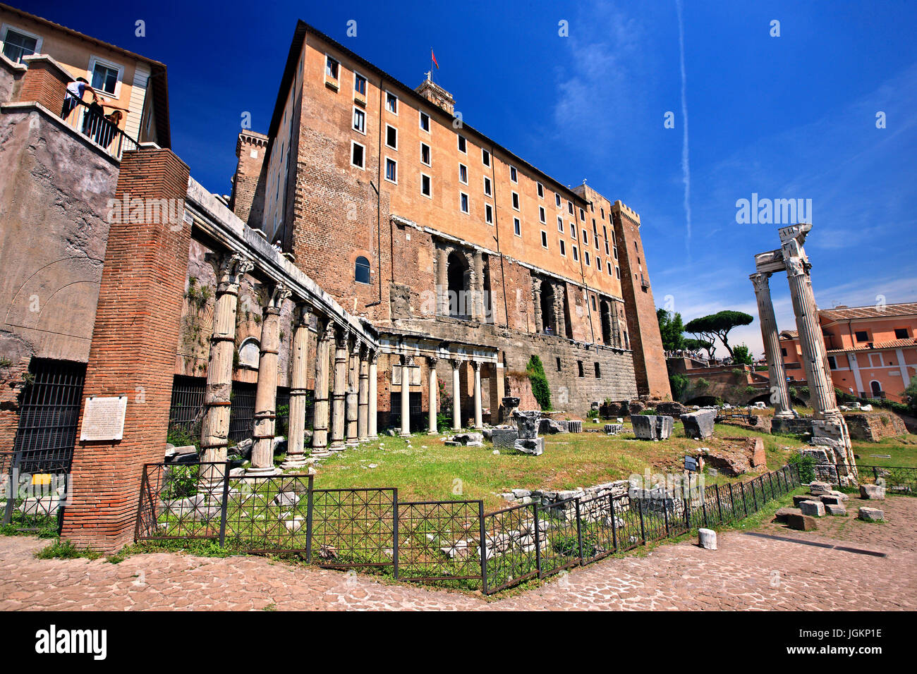 The Portico of the Harmonious Gods and the Temple of Vespasian and Titus (back) on the foot of the Capitoline hill, - Stock Image