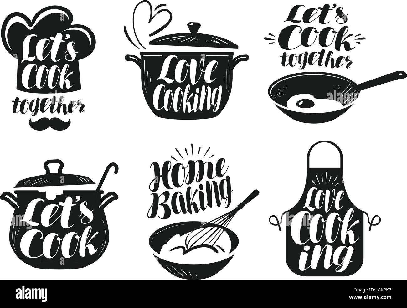 kitchen utensils vector. Cooking, Cookery, Cuisine Label Set. Cook, Chef, Kitchen Utensils Icon Or Vector