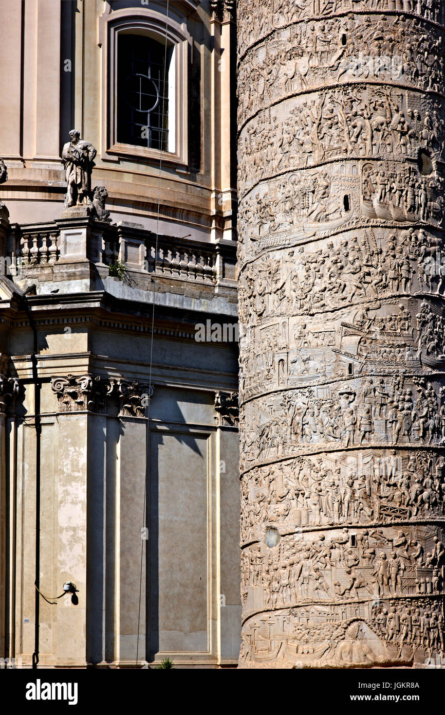 'Detali' of Trajan's Column, a Roman triumphal column in Rome, Italy, that commemorates Roman emperor - Stock Image