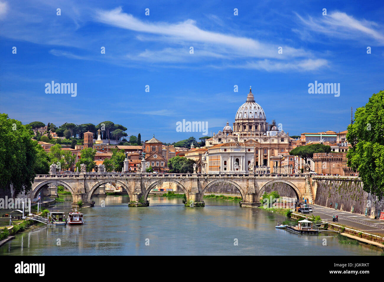 The dome of St Peter's Basilica and Ponte Sant'Angelo, Rome, Italy. - Stock Image