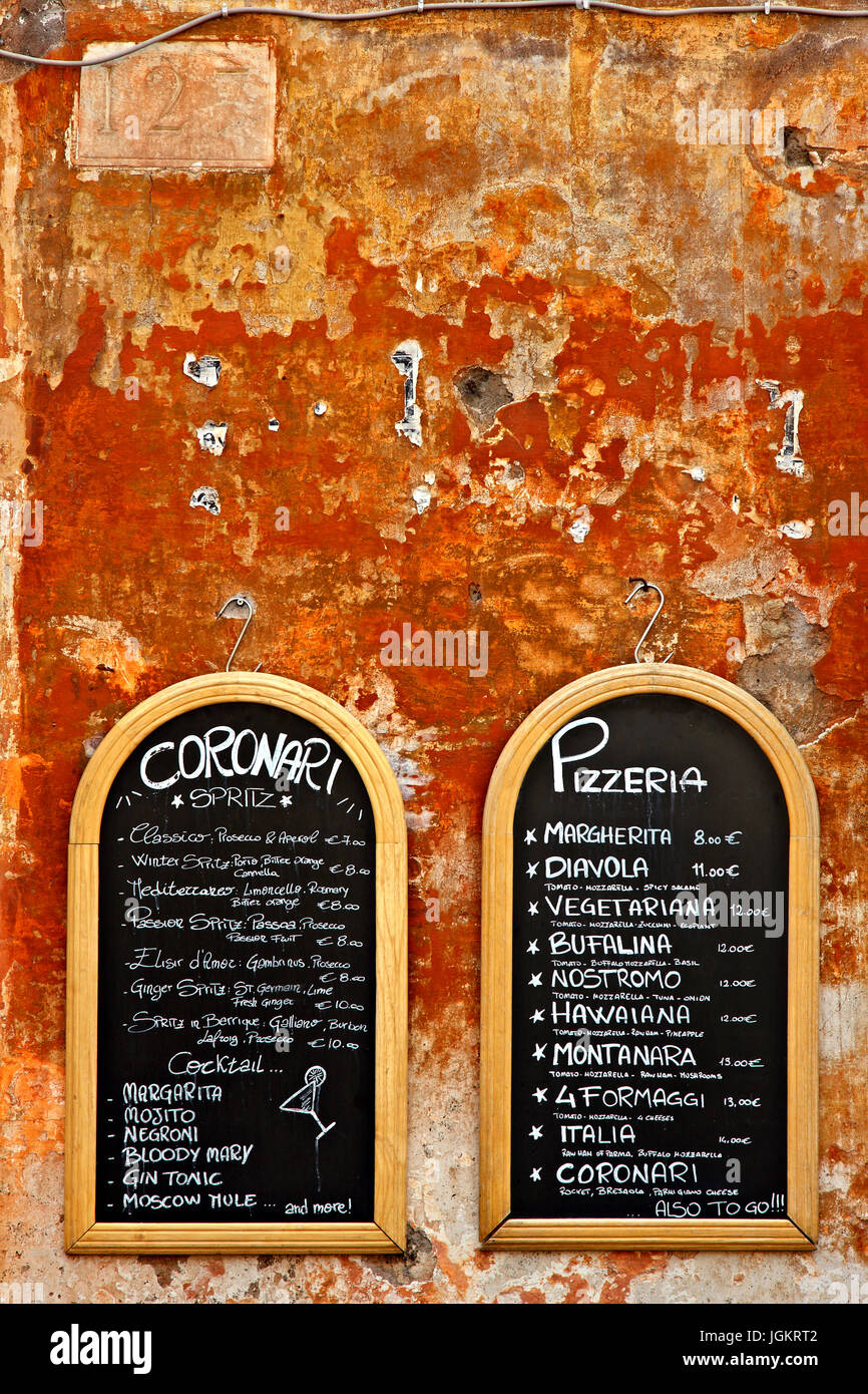 Menu of a pizzeria at the historic center (Centro Storico) of Rome, Italy, - Stock Image
