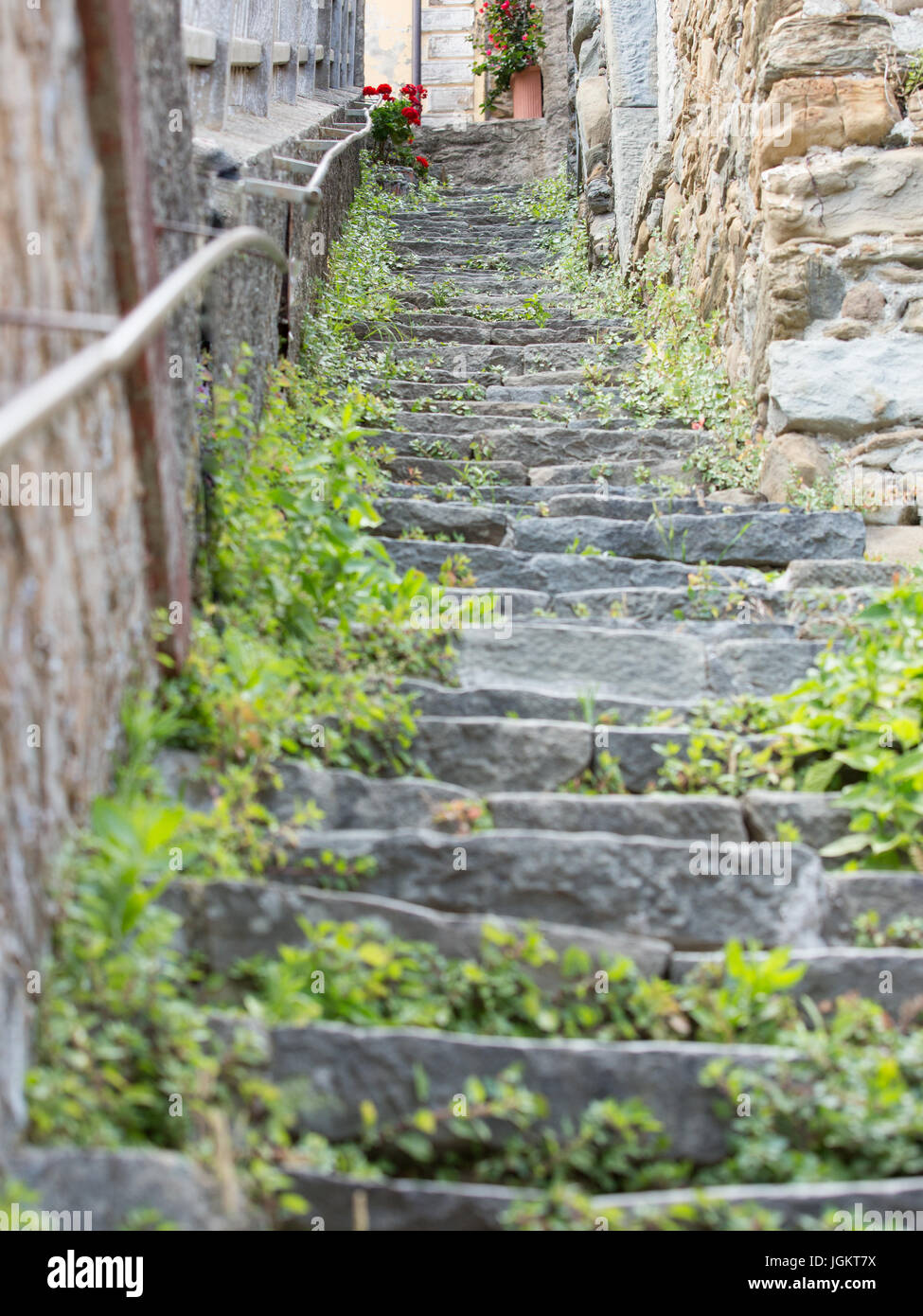 old stone steps of Riomaggiore, Italy - Stock Image