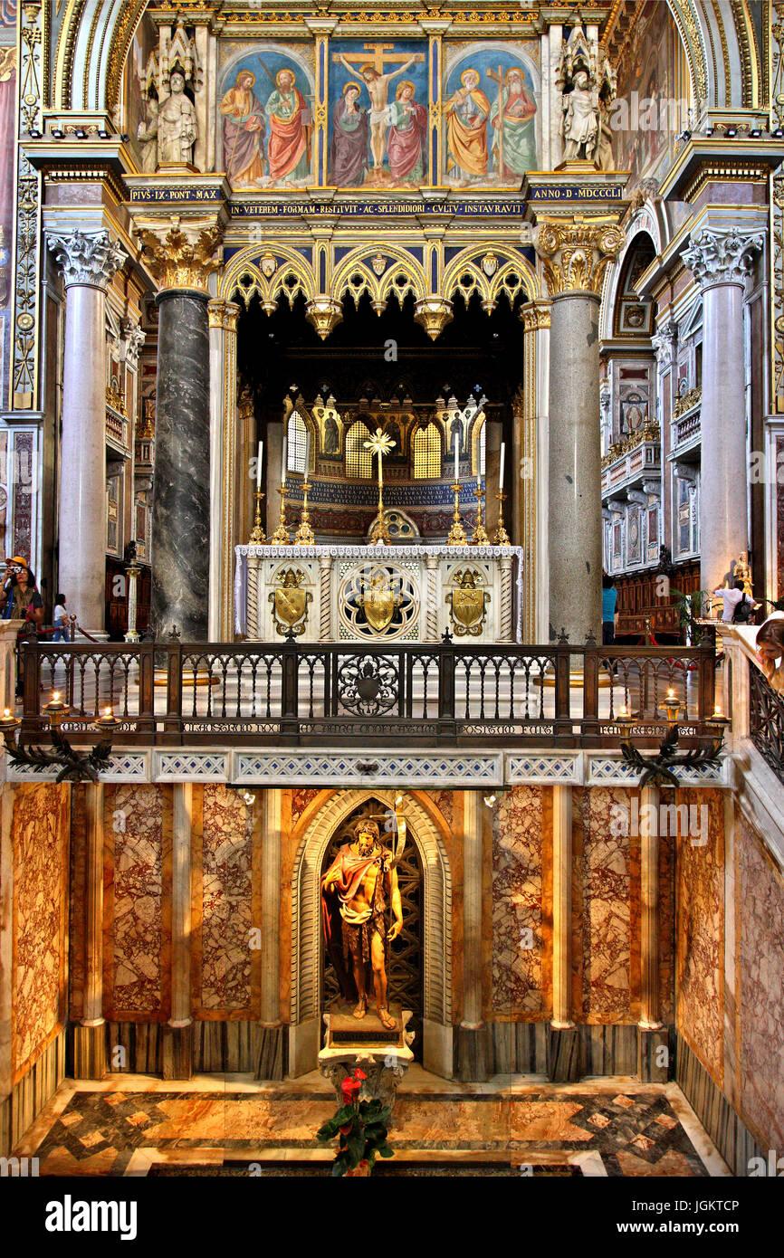 Inside the Arcibasilica di San Giovanni in Laterano (Archbasilica of St. John in Lateran), Rome, Italy. Stock Photo