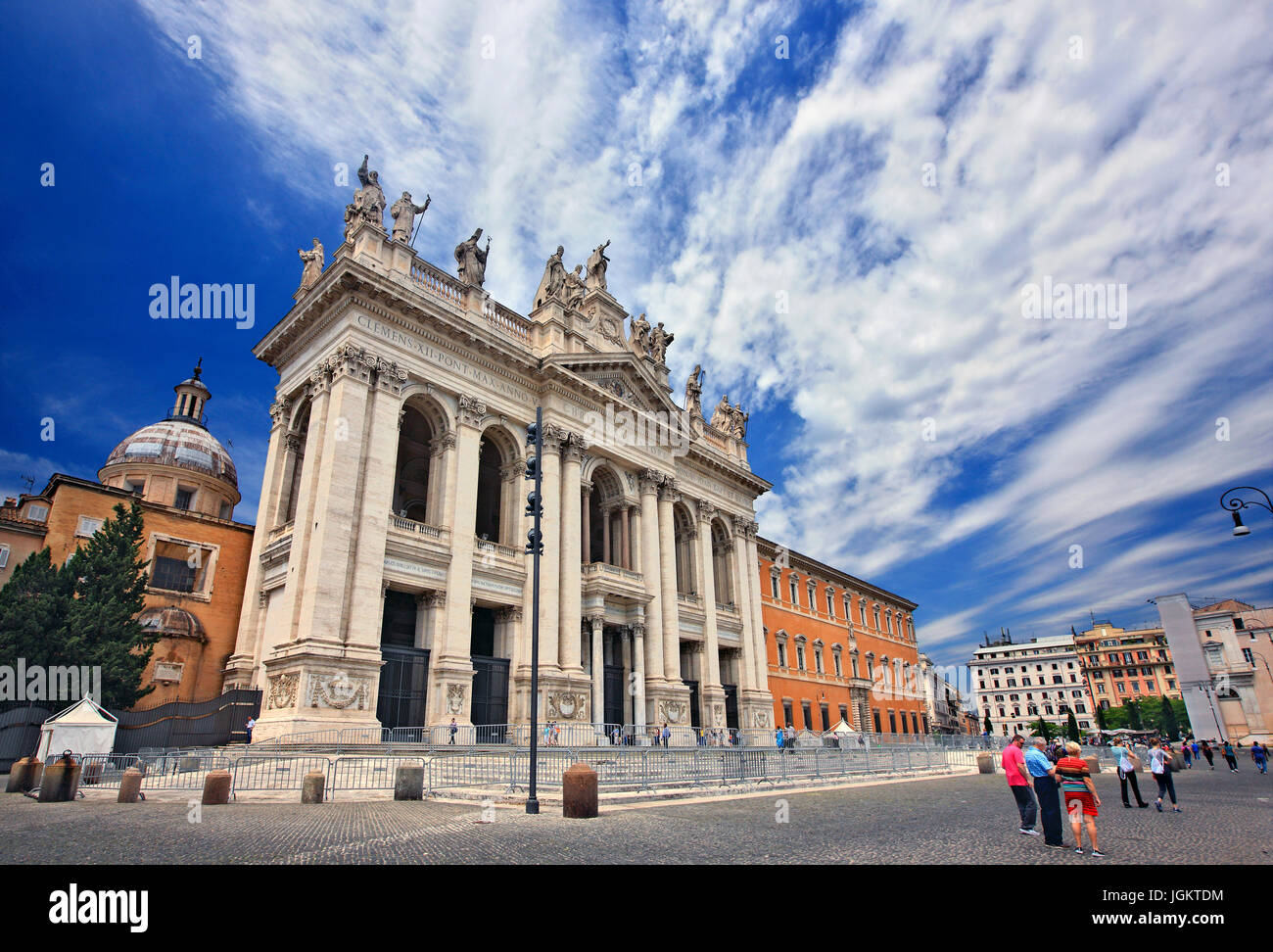The imposing facade of the Arcibasilica di San Giovanni in Laterano (Archbasilica of St. John in Lateran), Rome, - Stock Image