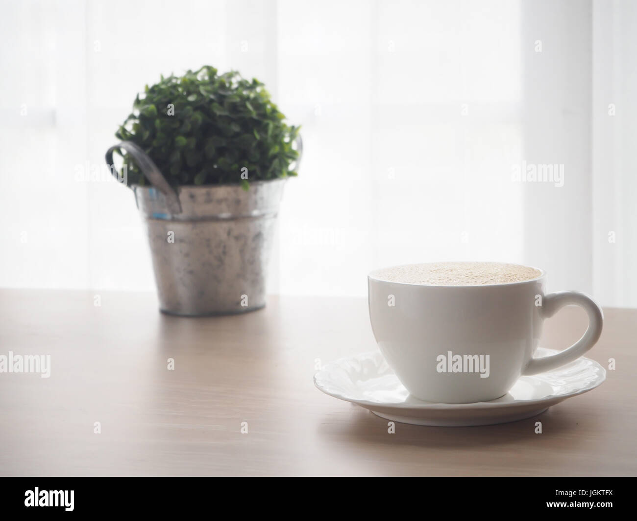 wood table with white coffee cup of latte coffee, small tree garden on pot and blurry white drape texture background, - Stock Image
