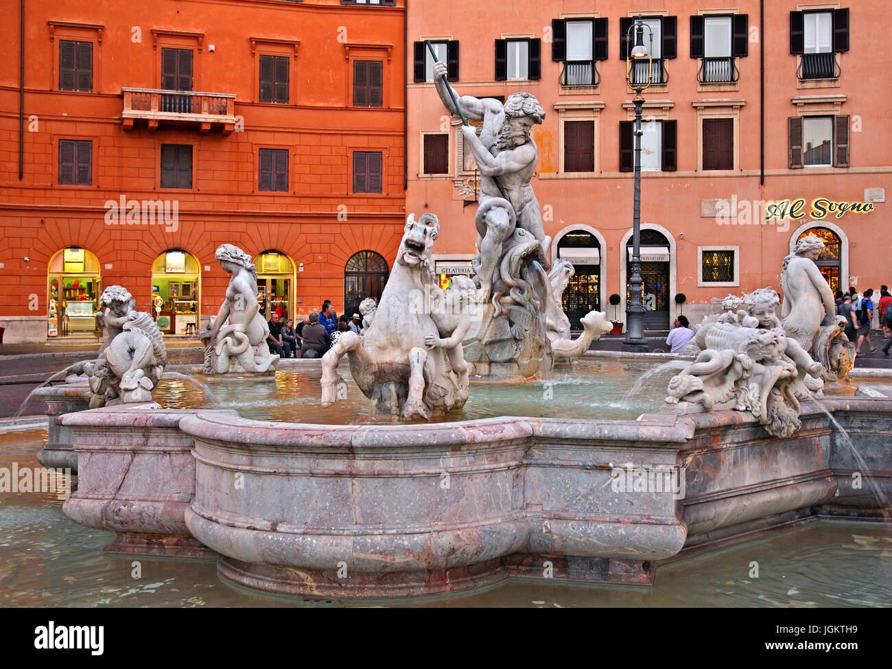 Fontana del Nettuno (Fountain of Neptune), Piazza Navona, Rome, Italy - Stock Image