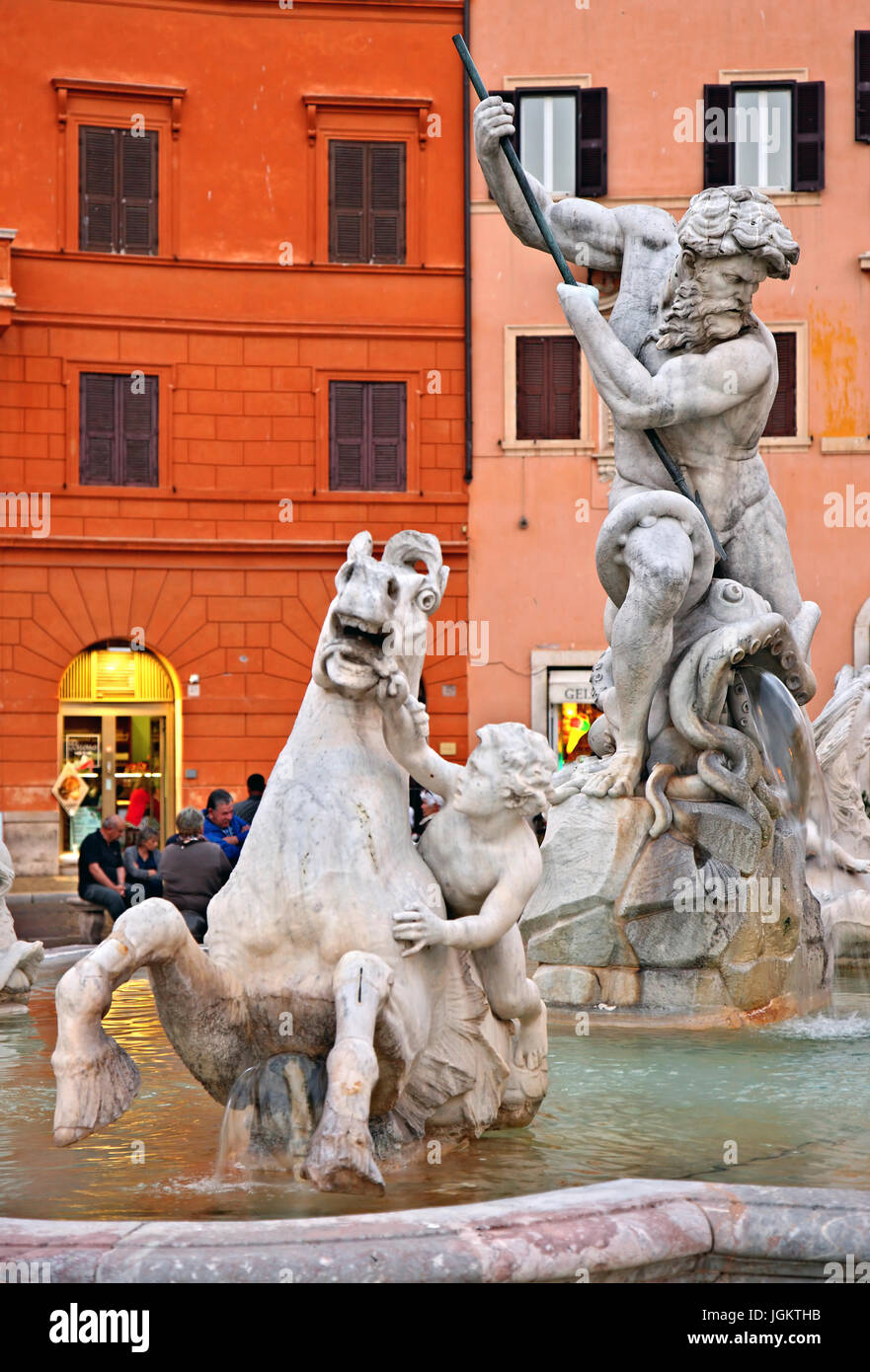 'Detail' from Fontana del Nettuno (Fountain of Neptune), Piazza Navona, Rome, Italy - Stock Image