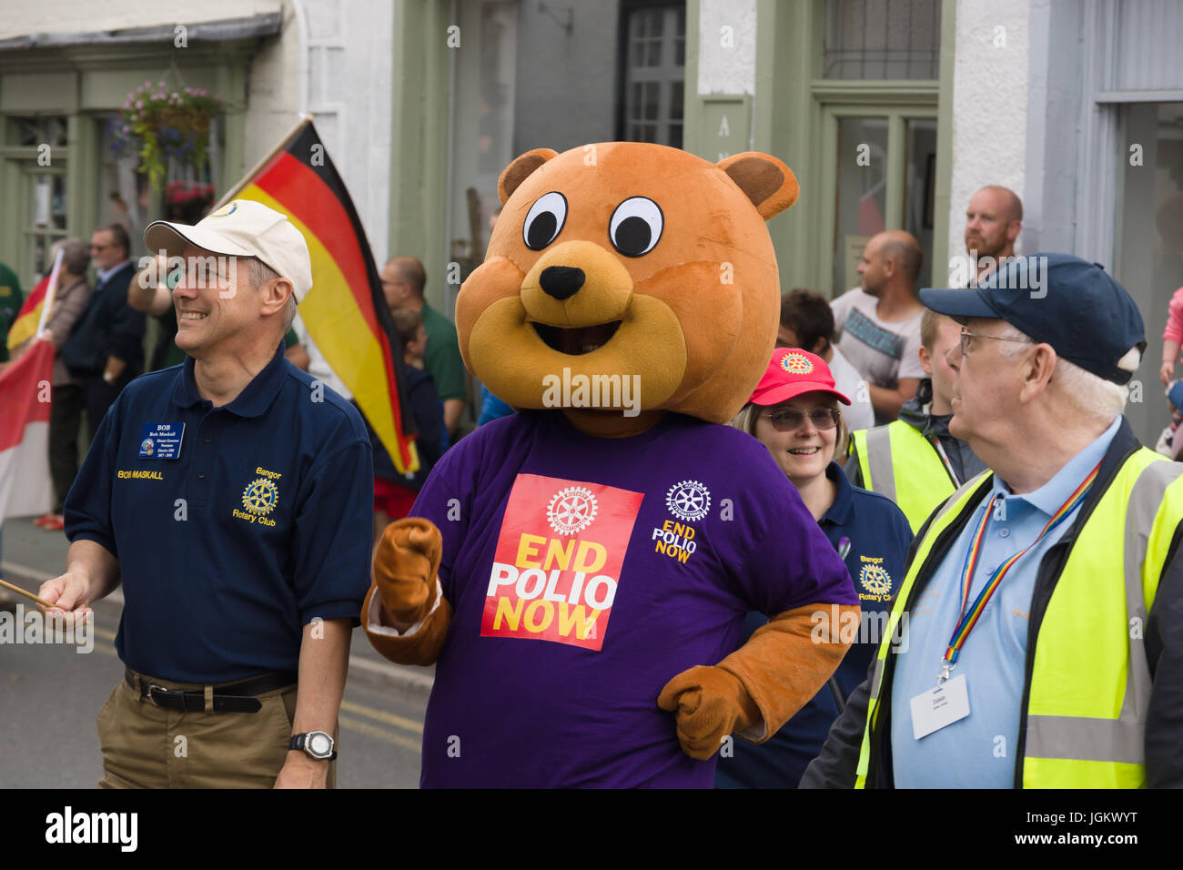 Rotary Club members taking part in a street parade to highlight the End Polio Now campaign during the International - Stock Image