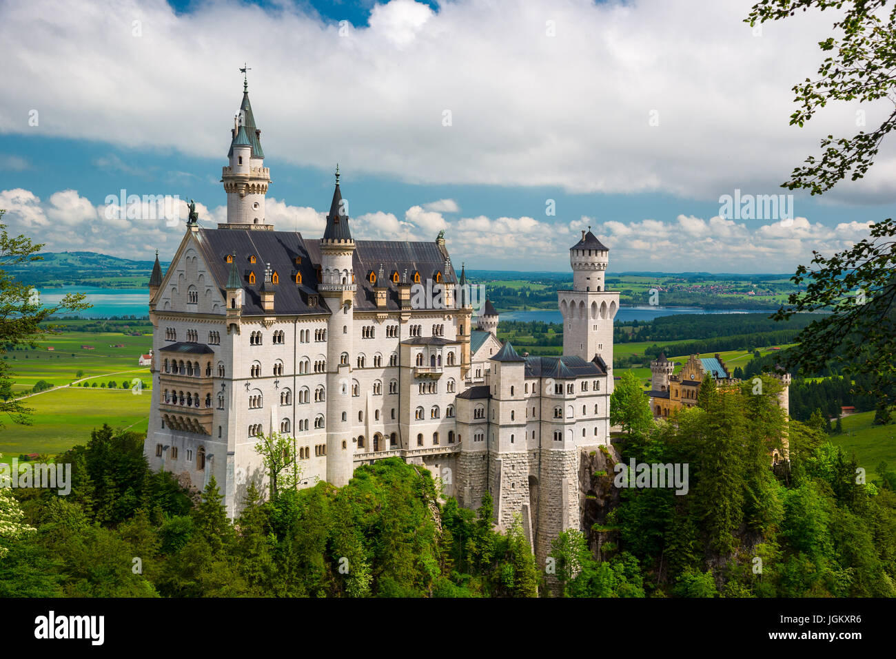Neuschwanstein Castle on the top of the mountain, Fairytale castle in southwest Bavaria, Germany - Stock Image