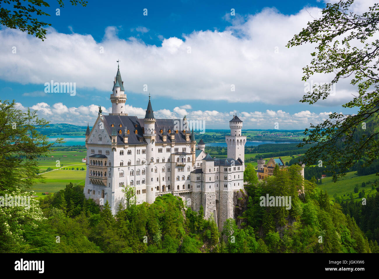 Neuschwanstein castle in a summer day in Germany. - Stock Image
