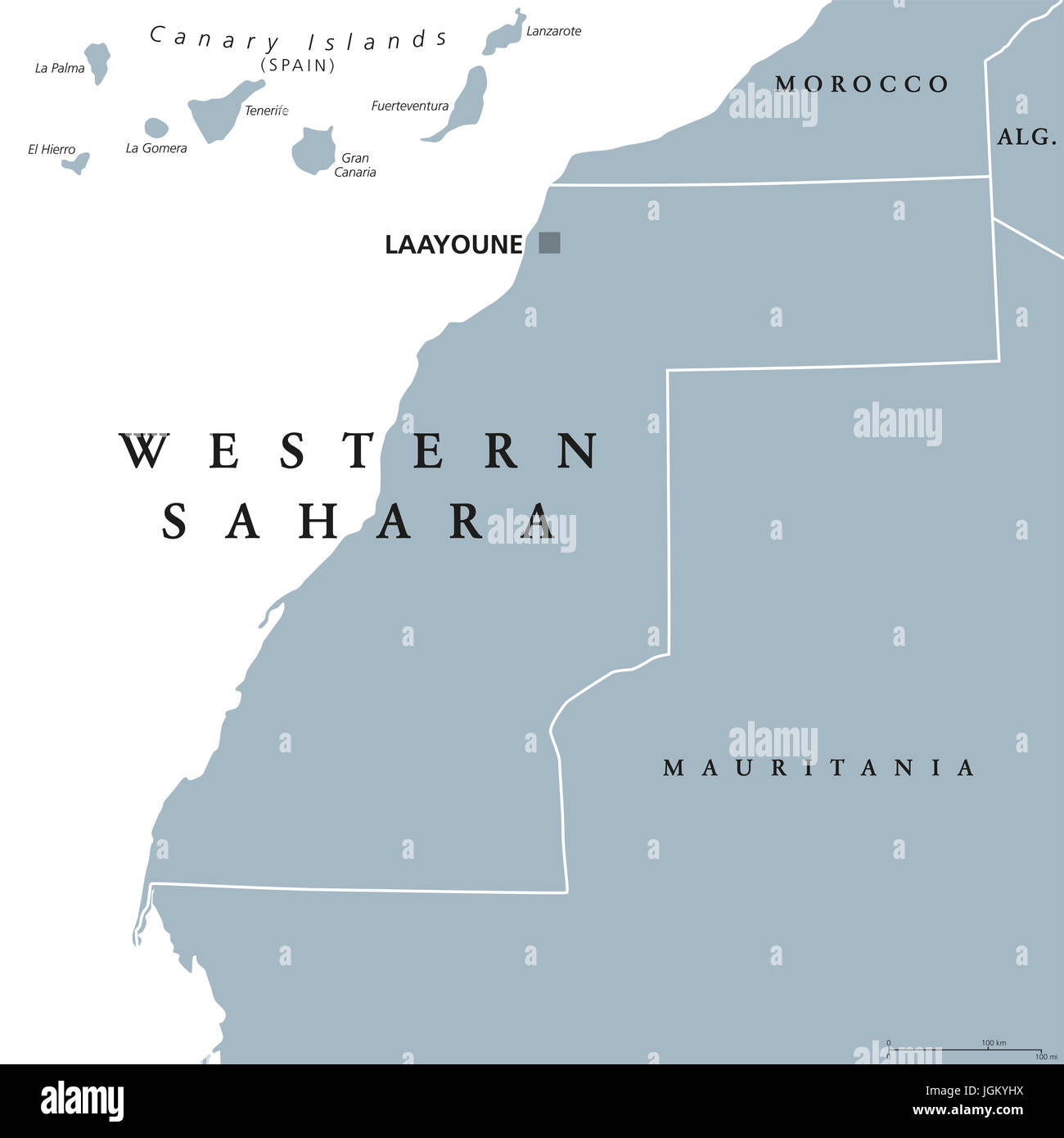 Western Sahara political map with capital Laayoune. Disputed, partially Moroccan occupied territory in Maghreb region - Stock Image