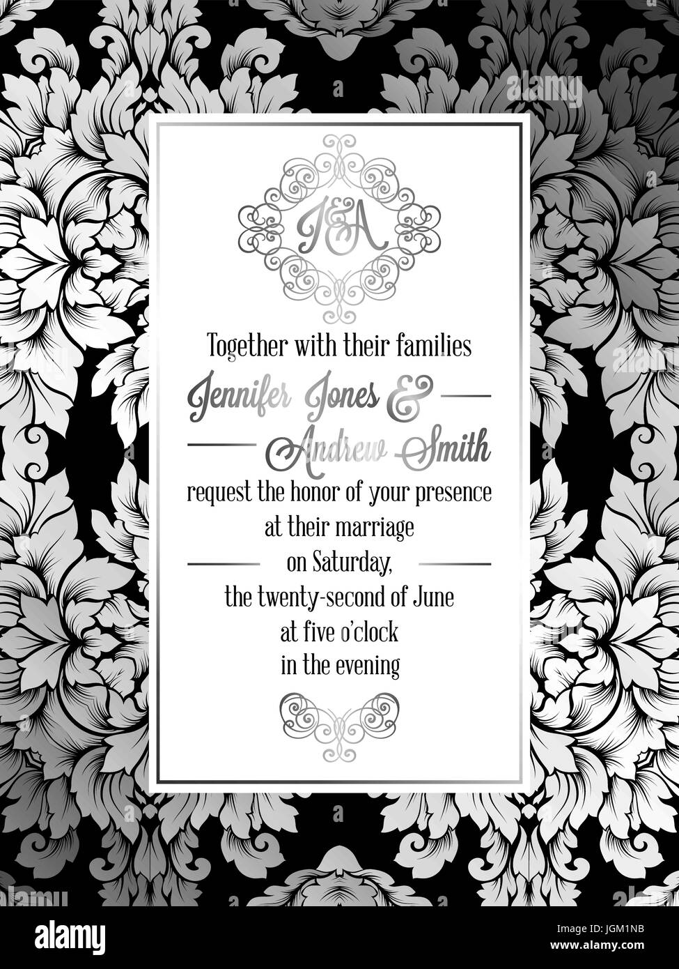 Vintage baroque style wedding invitation card template elegant vintage baroque style wedding invitation card template elegant formal design with damask background traditional decoration for wedding silver dec stopboris Choice Image