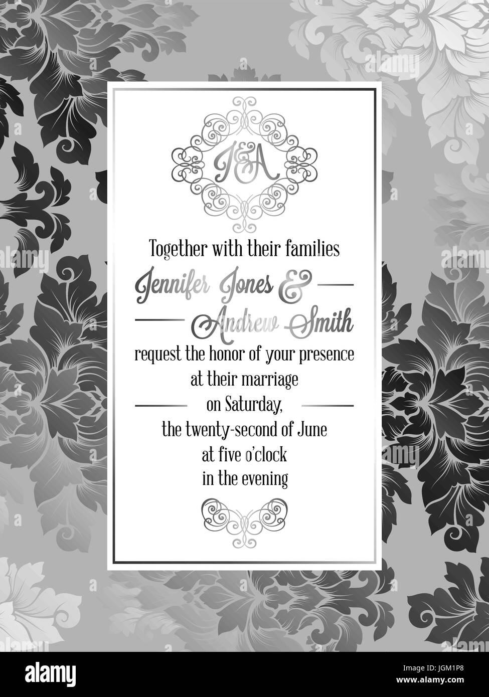 Vintage baroque style wedding invitation card template elegant vintage baroque style wedding invitation card template elegant formal design with damask background traditional decoration for wedding silver dec stopboris Gallery