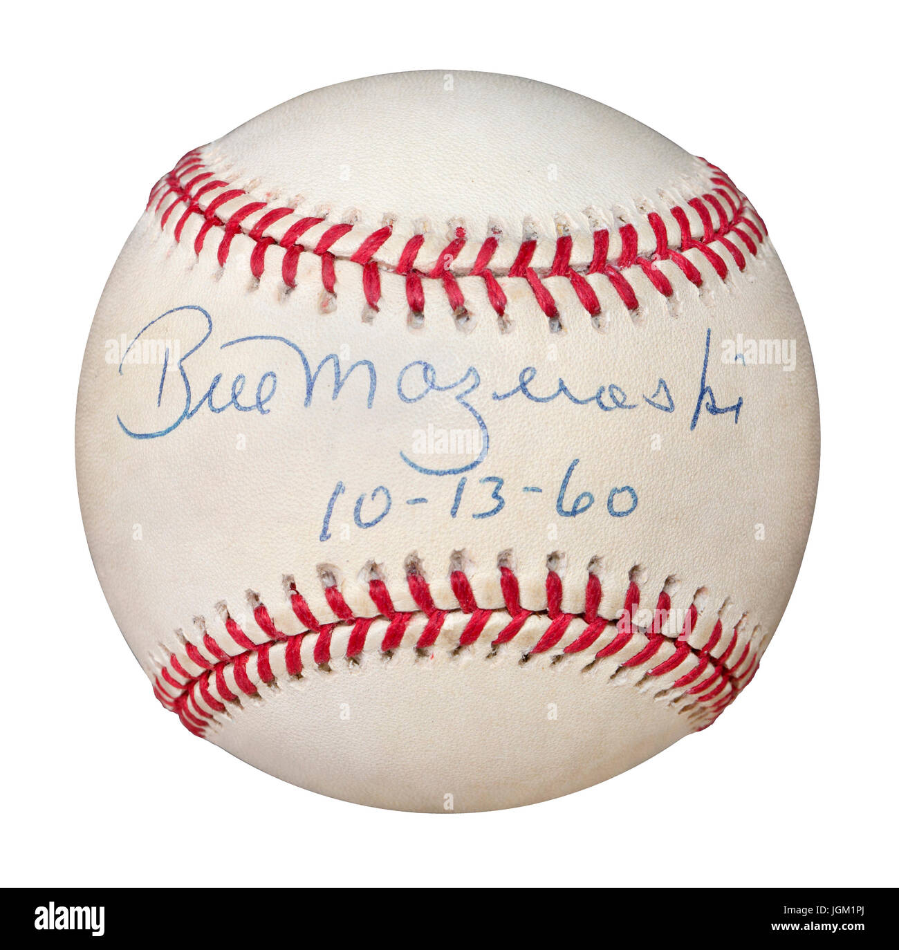 Autographed baseball by Pittsburgh Pirate second baseman Bill Mazeroski dated 10-13-60.  Bill is the only player - Stock Image