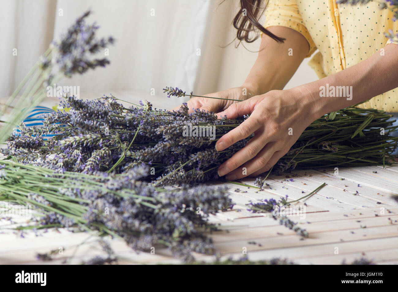 Florist at work: woman creating bouquet of natural lavender flowers, in te wooden table, small business concept. - Stock Image