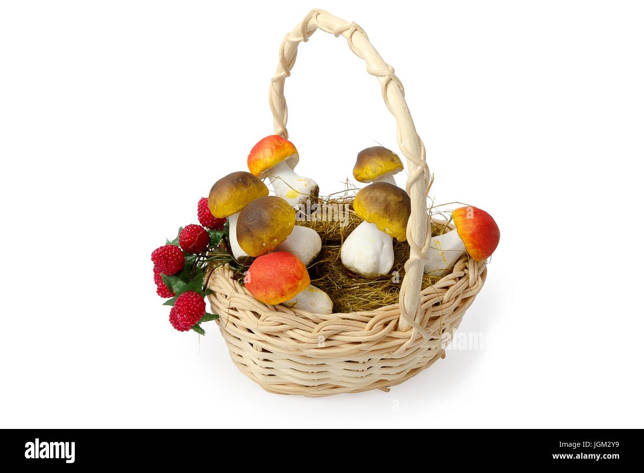 basket mushrooms berries - Stock Image