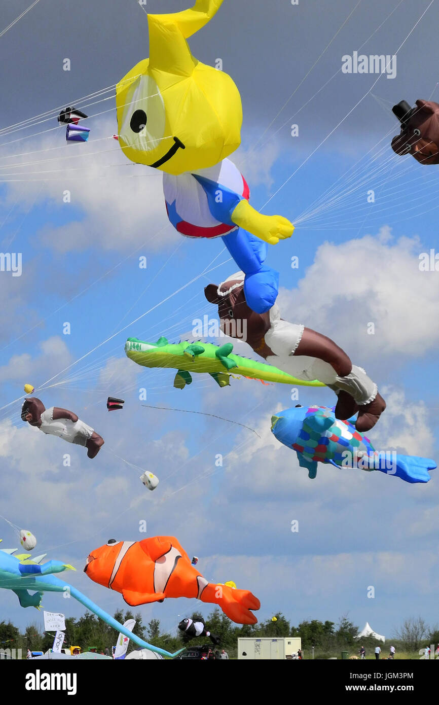 Germany, Lower Saxony, Wangerland, Schillig, North Sea coast, dragon, dragon's festival, brightly, coloured, - Stock Image