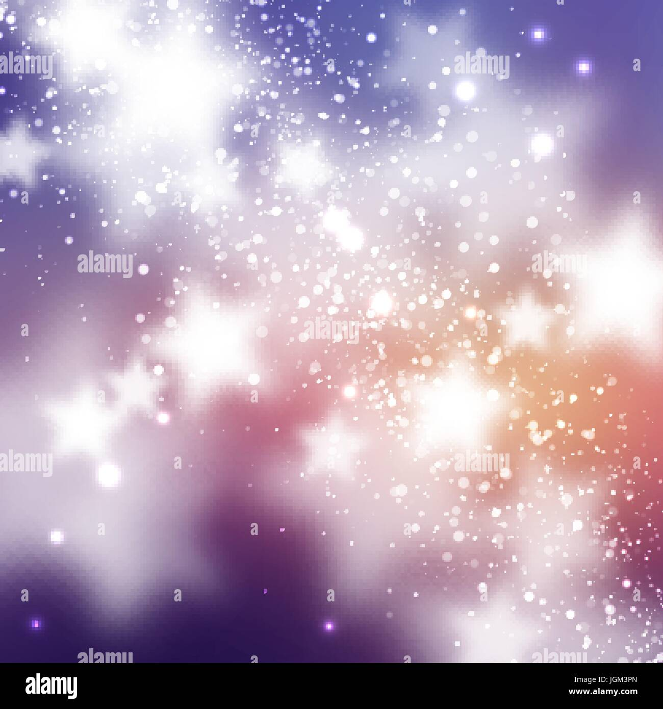 Starry background. Smooth and blured stars on blue and magenta background - Stock Image