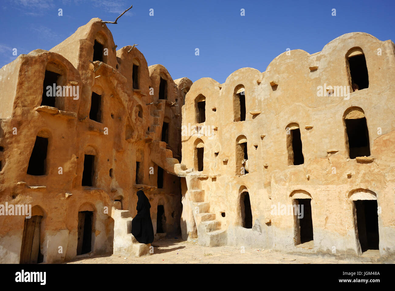 Ksar Ouled Soltane, an ancient fortified granary, or ksar, located in the Tataouine district in southern Tunisia Stock Photo