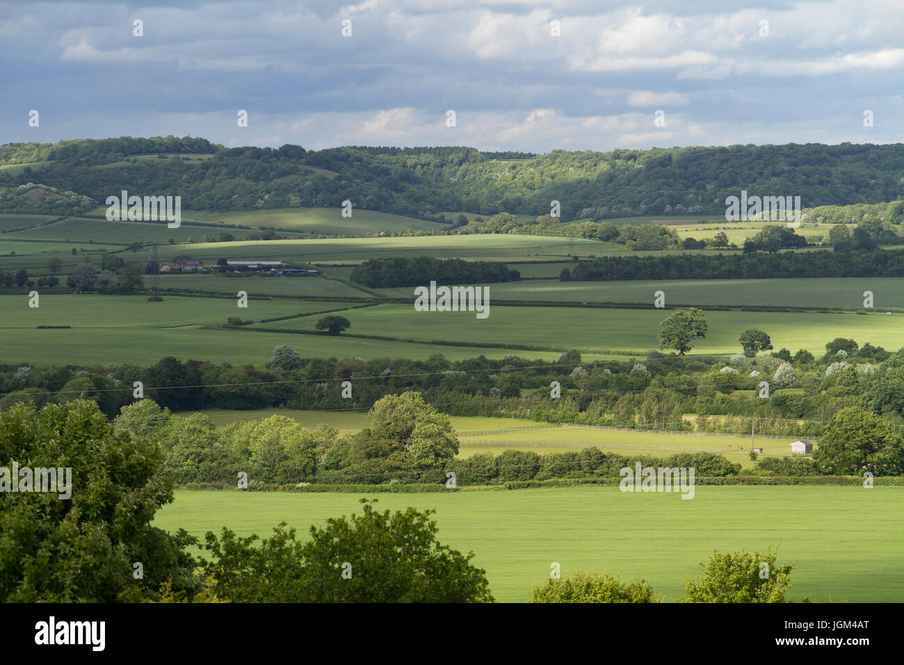 The view from Lodge Hill near Saunderton looking over the Chiltern Hills in Buckinghamshire. - Stock Image