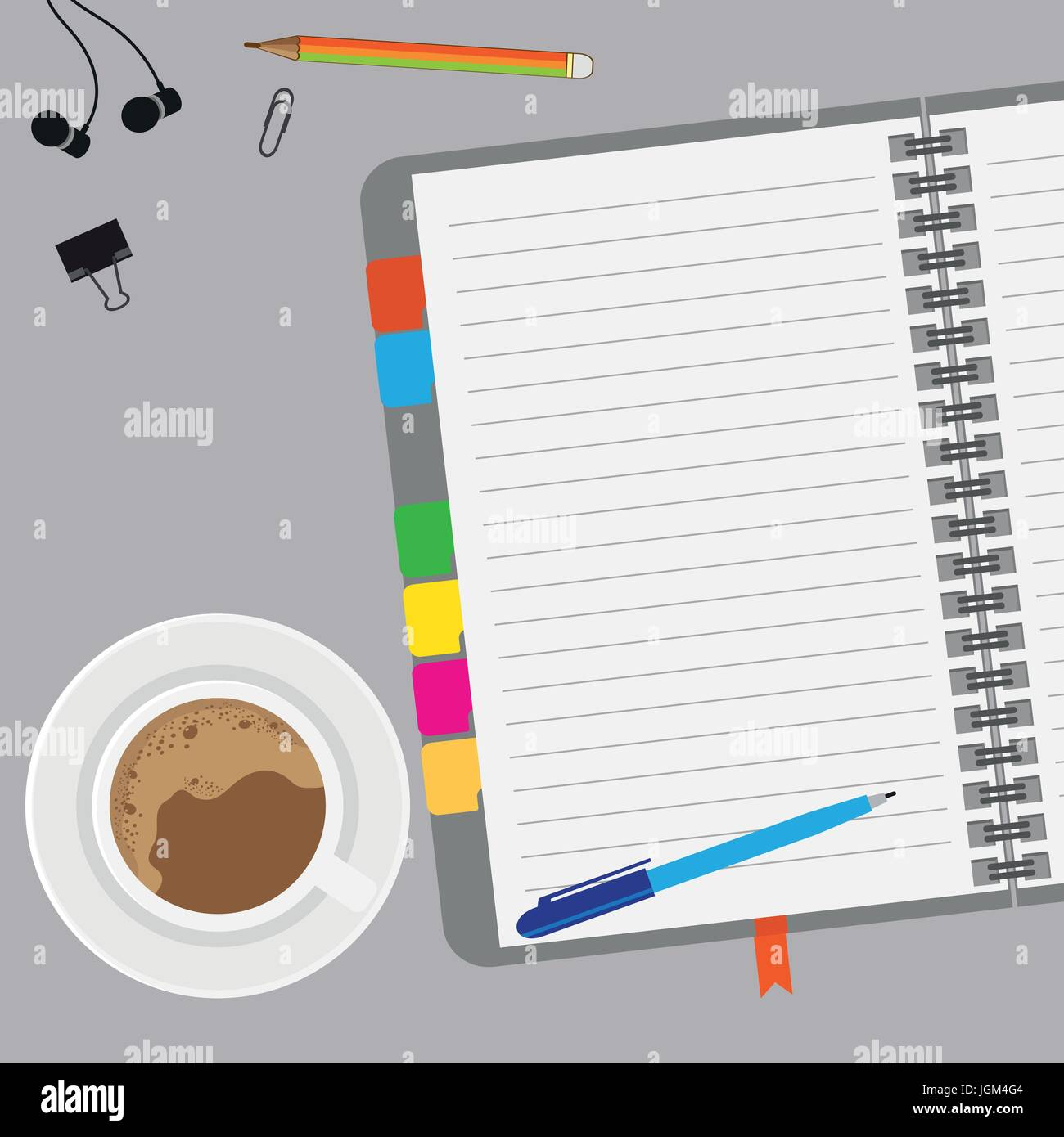 Empty paper with coffee and notes on desk  with copy space, top view, vector illustration. - Stock Vector