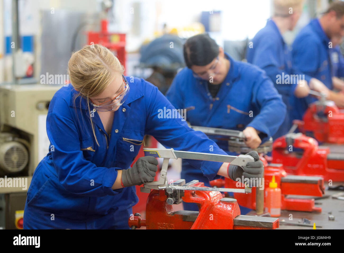 Female apprentices in heavy industry - Stock Image