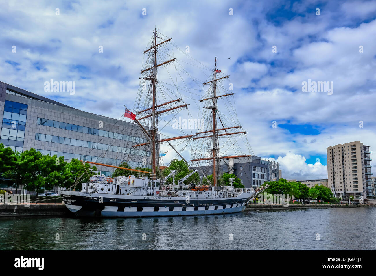 Cardiff Bay, Wales - May 21, 2017: Stavros S Niarchos, Tall Ship Training ship moored near the barrage at Cardiff - Stock Image