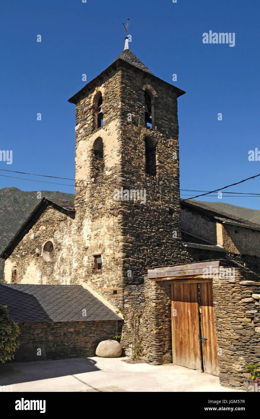 Church of Arros de Cardos in the Cardos Vallery, Pallars Sobira, Lleida province, Catalonia, Spain Stock Photo