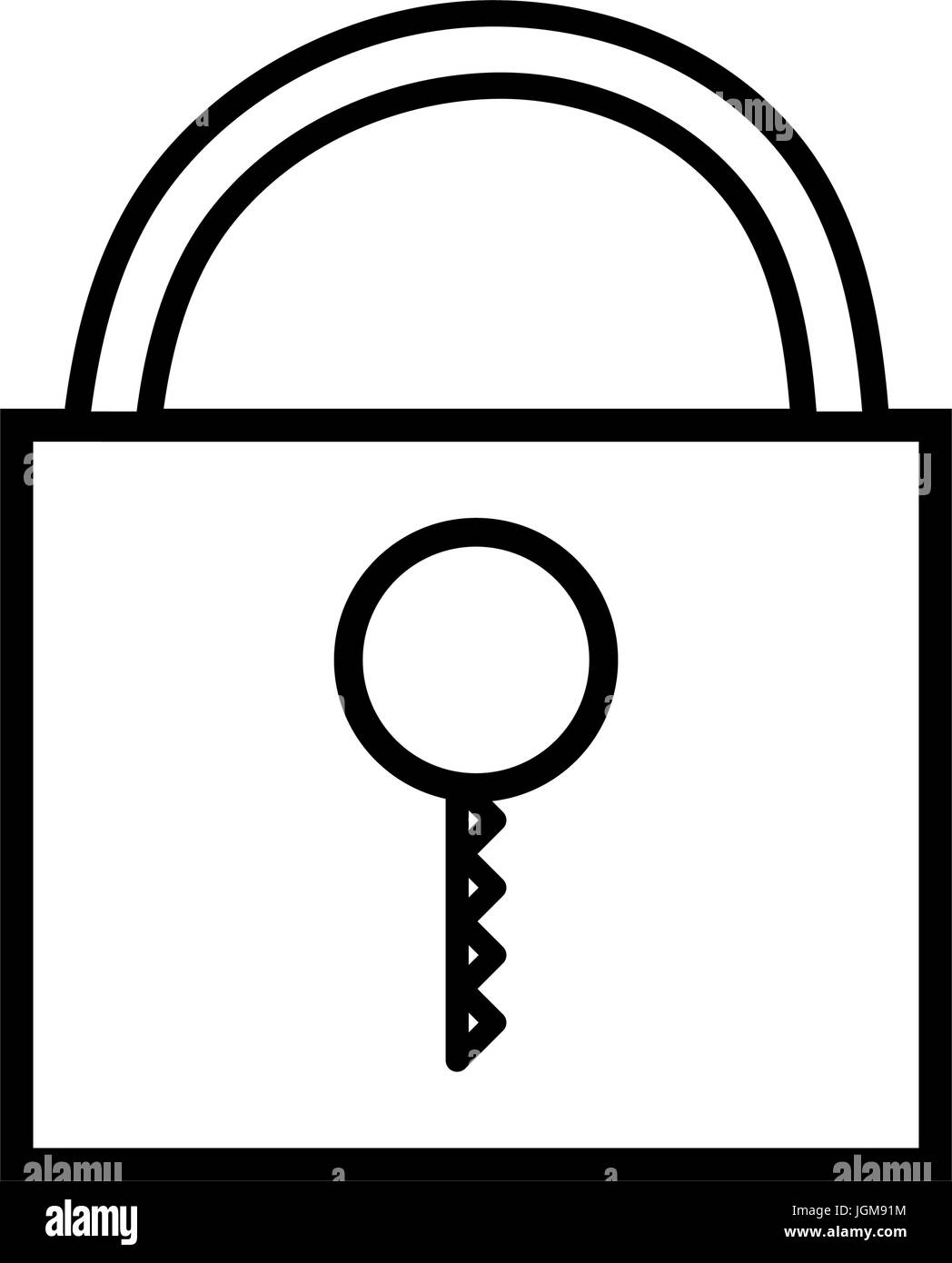 line padlock close element to protection the information - Stock Image