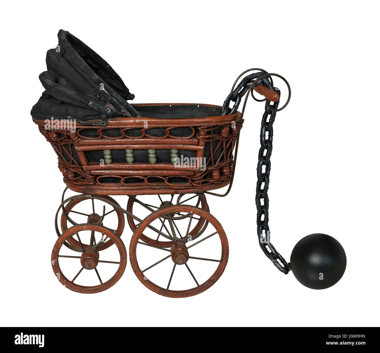Large metal ball and chain with Bassinet - path included - Stock Image