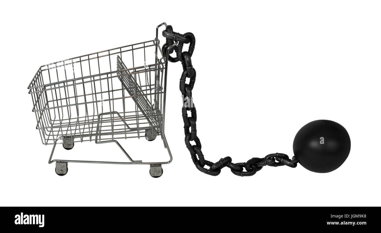 Large metal ball and chain made to hamper movement - Stock Image