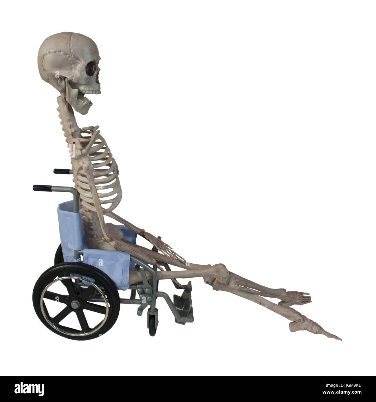 The skeleton in a Wheelchair - path included - Stock Image