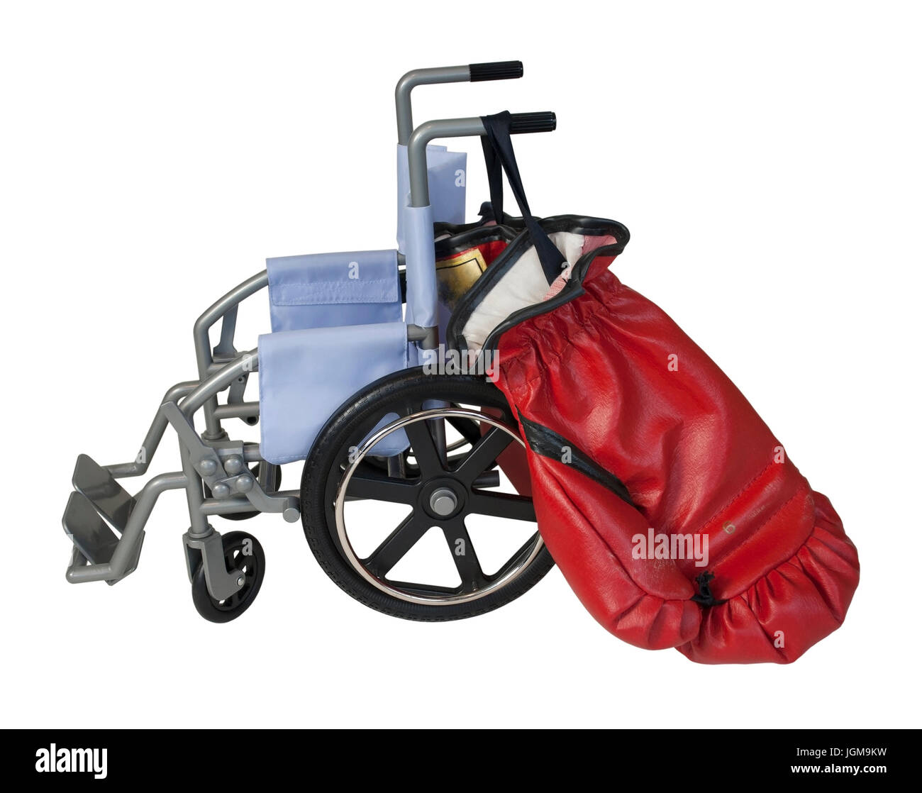 Wheelchair used for assistance in personal transportation with Boxing Gloves - Path Included - Stock Image