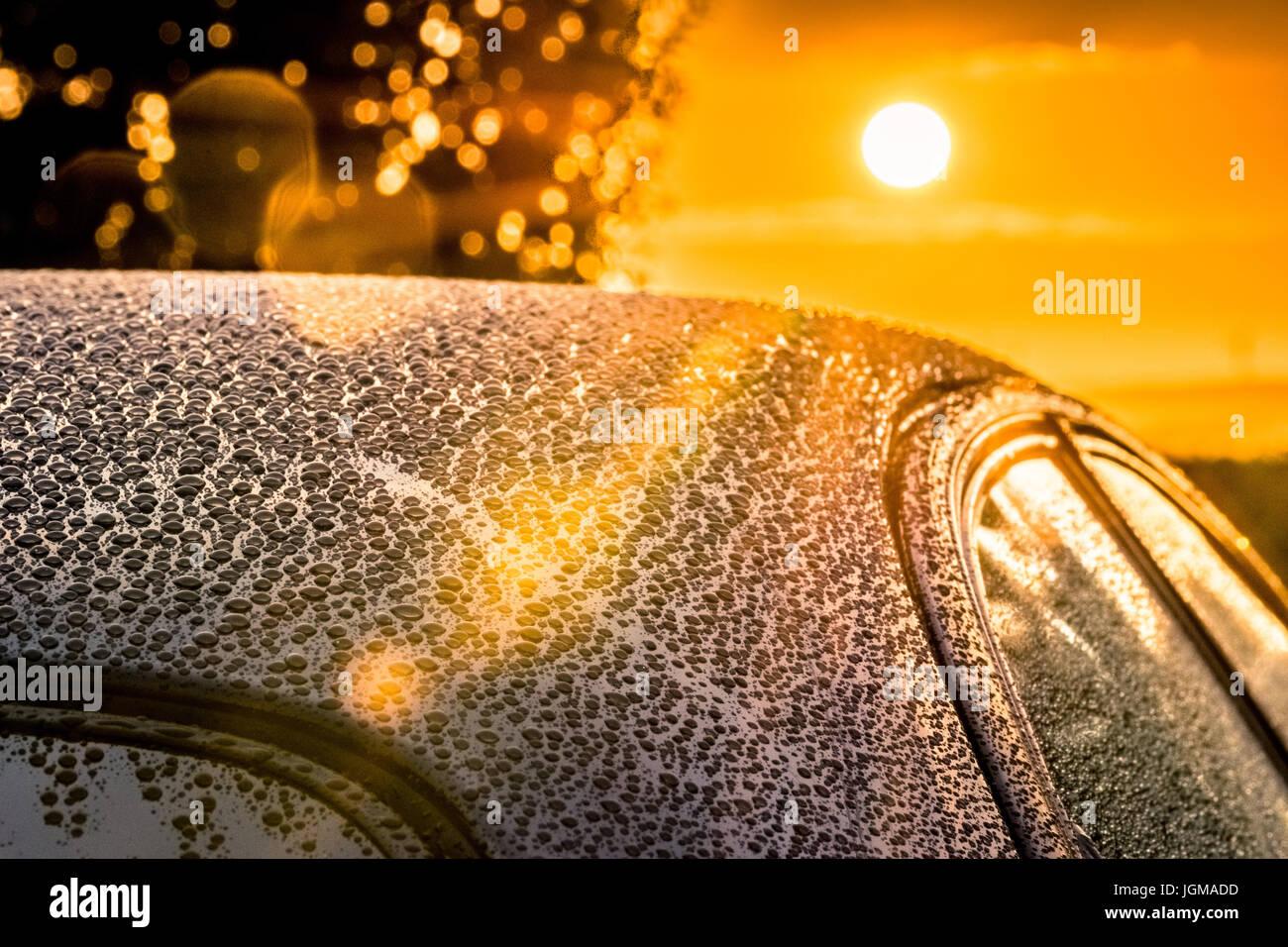 Car Detailing Sunset Beading - Stock Image