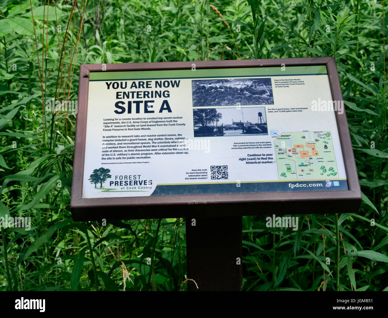 Interpretive sign at Site A, former Manhatten Project research facility, Red Gate Woods, Palos Park, Illinois. - Stock Image
